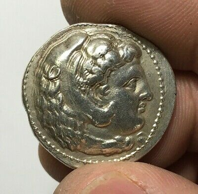 ANCIENT GREEK SILVER COIN TETRADRACHM ALEXANDER THE GREAT  15.9gr 27.6mm