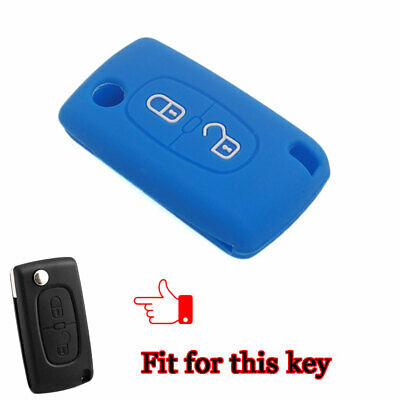 Blue Silicone Fob Key Cover Case 2 Buttons For Peugeot 308 207 307 807 Citroen