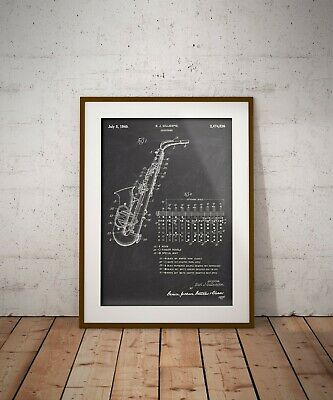 Saxophone Patent Print, Music Instrument Art Poster, Gift for Jazz Fan, Man Cave