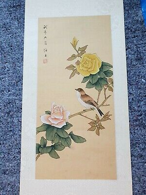Chinese Japanese  Original Painting On paper Bird Vintage