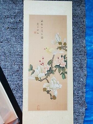 Chinese Japanese  Original Painting On Silk Bird Vintage