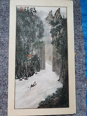 Chinese Japanese  Original Painting On paper Gorge Xiling Vintage