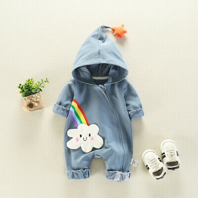 Newborn Baby Boys Girls Rainbow Outfits Hooded Romper Bodysuit Jumpsuit Clothes