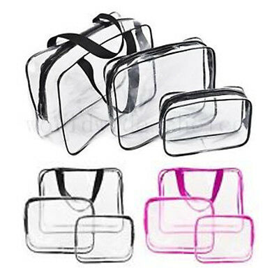 3pc Transparent Travel Bag Set Airport Cosmetic Makeup Toiletry Clear Wash Pouch