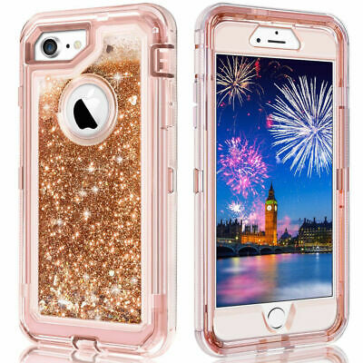For iPhone6/7/8 Plus Glitter Liquid Defender Case Fits Otterbox Rose Gold
