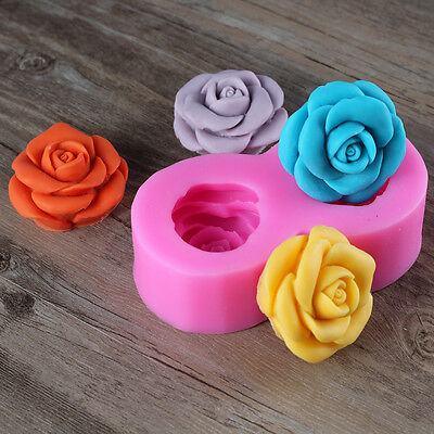 3D Rose Flower Resin Clay Craft Molds Decorative Soap Candle Silicone Molds