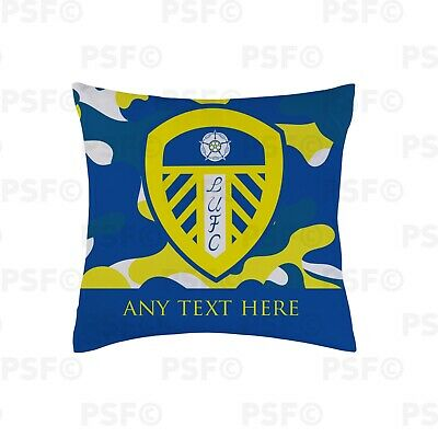 Leeds United FC Official Personalised LUFC Crest Camouflage 45cm Cushion LC008