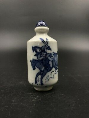 Chinese Antique Ceramic Snuff Bottle Hand-painted Riding Battle—qianlong mark.
