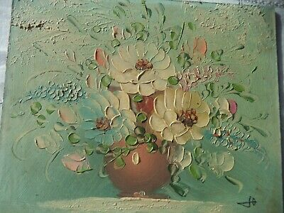 Ancienne Hst Huile Sur Isorel Fleurs Signee  French Antique