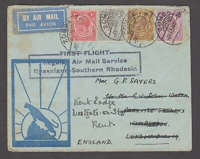 Nyasaland 1934 First Flight cover, sent to England