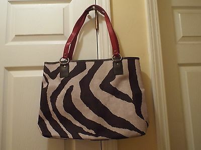 Large Brown and Beige Handbag with Red Handles and Red liner