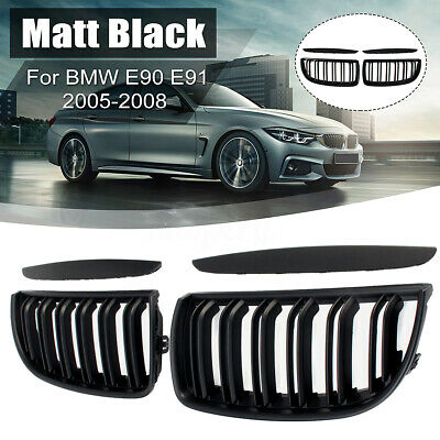 For BMW E90 E91 2005-2008 Front Bumper Kidney Grill Grille Matt Black