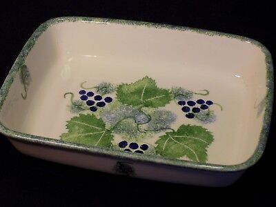 Poole Pottery Hand Painted Spongeware Vineyard Grapes Rectangular Pie Dish