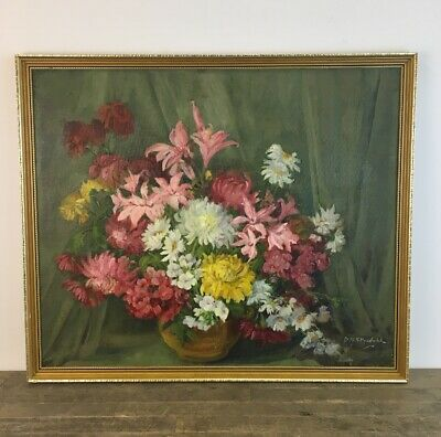 Large Signed & Framed Oil On Board Floral Still Life Painting.