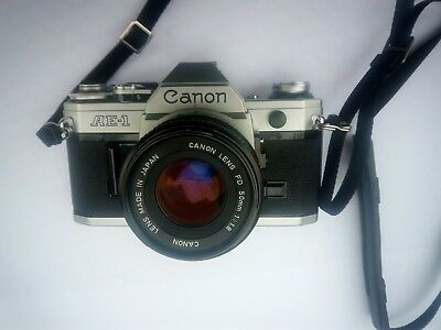 Canon AE-1 35mm SLR Camera with Canon FD 50mm f1.8 Lens & strap