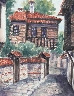 1998 watercolor painting country scene