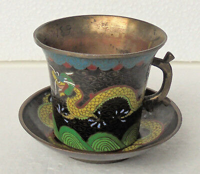 CINA (China): Old Chinese cloisonne dragon saucer & cup with handle