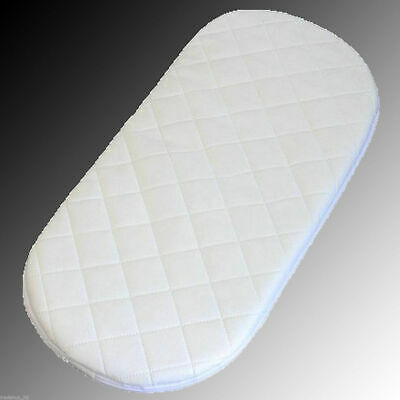QUILTED SOFT BABY MOSES BASKET / PRAM OVAL SHAPED MATTRESS 75 x 28 x 4 cm