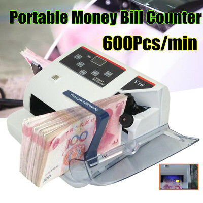 Protable Money Bill Cash Counter Bank Currency Counting Detector UV&MG Machine