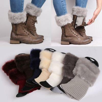Women Soft Fluffy Faux Fur Cuffs Boot Toppers Leg Warm Fashion Knit Socks LH