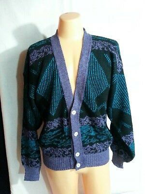 VTG 80s w Tag Men Cardigan Sweater Black Purple Green Disco Prep Retro Italy L