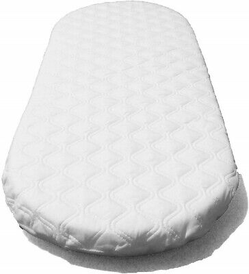 Quilted Moses Basket / Pram Mattress Soft Breathable Oval Shaped All UK Sizes
