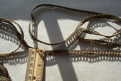 Vtg Antique Edwardian Narrow Gold Metallic  Edge Cord Braid Trim Lace