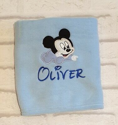 Personalised Baby Mickey Mouse Fleece Blanket  Any Name Disney Embroidered Gift