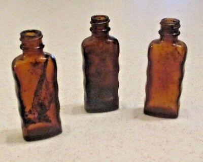 3 Antique Vintage Old Amber Wavy Medicine Glass Apothecary Bottle Roux 1 & 3