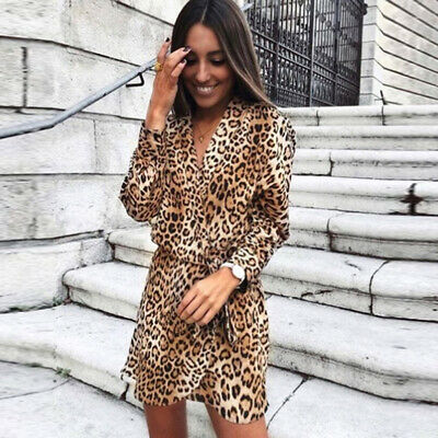 Chic Women Ladies Leopard V-neck Printed Spring Short Casual Dress Two Colors N7