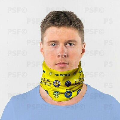 Leeds United FC Official Personalised LUFC Yellow Retro Neck Tube Snood LNT004