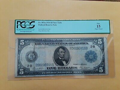FR. 851A 1914 $5 Federal Reserve Note New York Blue Seal Large Size PCGS 15