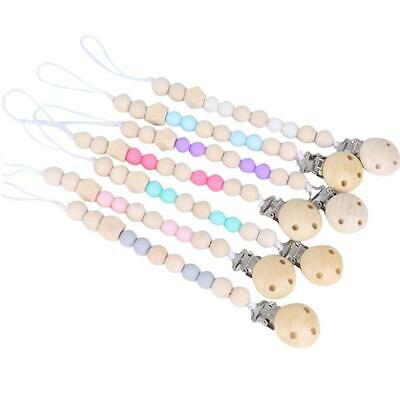 Wooden Dummy Clip Baby Soother Clips Chain Holder Pacifier Strap Teether Shower