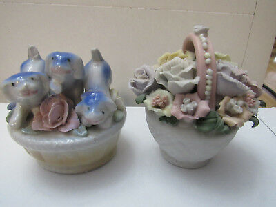 Bone China Basket Full of Assorted Flowers porcelain basket of puppies lot two