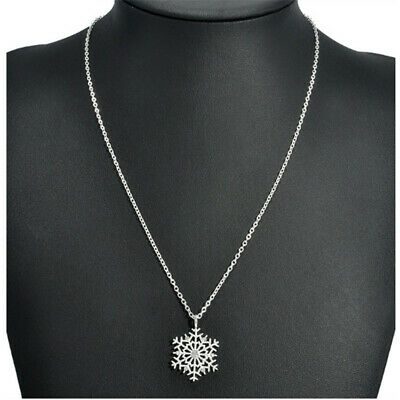 Women Charm Silver Frozen Snowflake Crystal Necklace Pendant Chain Jewelry New