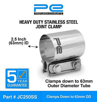 """2.5"""" inch 63mm 304 Stainless Steel Joint Clamp heavy duty exhaust band JC250SS"""