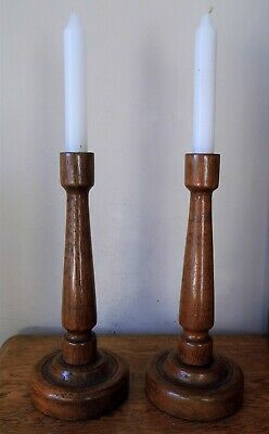 MATCHING VINTAGE CLASSIC WOODEN PAIR of TURNED OAK CANDLESTICKS Circular Bases