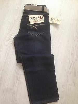 Mens Urban Style Denim Jeans With Belt SIZE 34S BNWT Regular Fit