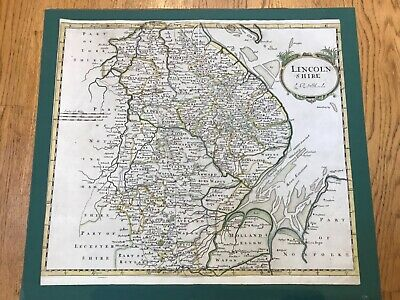 1722 Original Antique Map - LINCOLNSHIRE  by Robert Morden HAND COLOURED