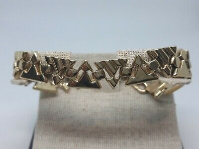 Heavy Solid Vintage 14K Yellow Gold Link Fashion Bracelet Unisex Triangles