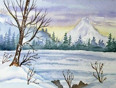 """Winter Mountain and pine trees Landscape  4"""" X 6"""" original,signed by artist"""