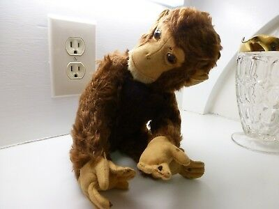 Vintage Schuco Stuffed Monkey Head turns with Metal Rod That Goes Thru His Body