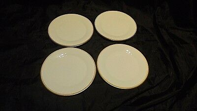 Royal Doulton, four China Bread/Side Plates, White with Gold Trim, Gold Concord