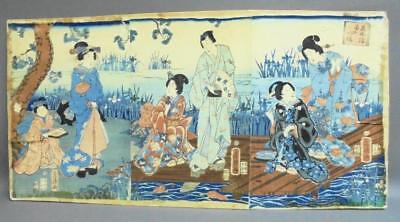Woodblock Triptych Genji Returns to Eight Bridges  其由縁国の八つ橋  UTAGAWA Fusatane