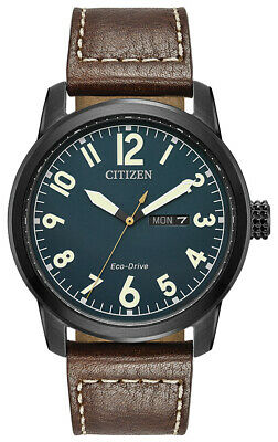 Citizen Eco-Drive Men's BM8478-01L Blue Date Dial Brown Leather Band 42mm Watch