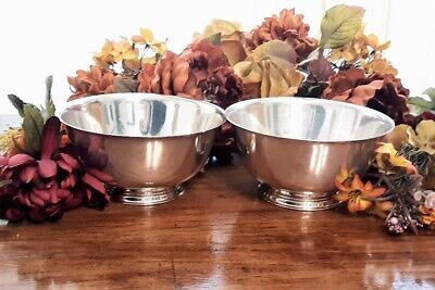 Set of Two Vintage Oneida Paul Revere Reproduction Silver Plate Liberty Bowl 6?