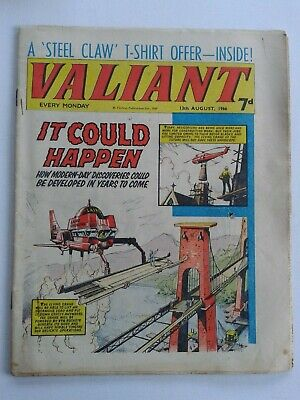 VALIANT vtg comic, 13 Aug 1966 Captain Hurricane Kelly's Eye Danger-Hunter