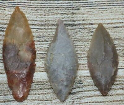 Group of 3 Large Sahara Neolithic Points - Translucent - Authentic