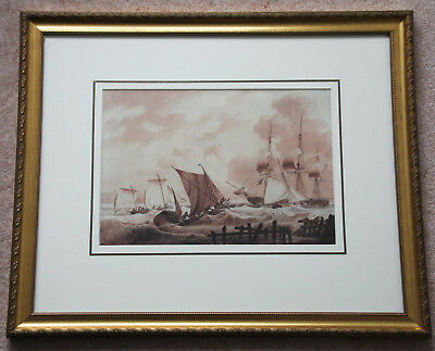 Large original sepia and colour watercolour by Thomas Webster RA 1800-1886