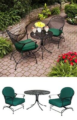 3-Piece Outdoor Bistro Set Chairs Table Patio Furniture Garden Yard Seat Metal
